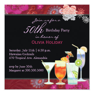 Floral Cocktails 50th Birthday Party 13 Cm X 13 Cm Square Invitation Card