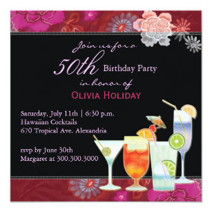 Floral Cocktails 50th Birthday Party Invitation