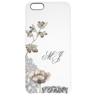 Floral Collage Elegant Clear Simple Monogram Case
