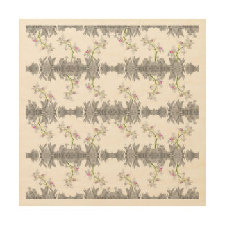 Floral Collage Pattern Wood Wall Art