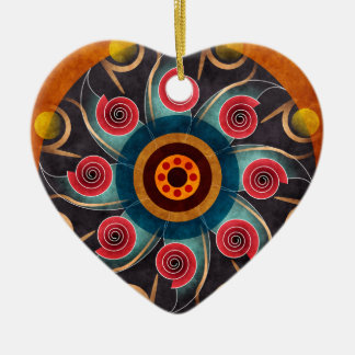 Floral Color Abstract Vector Art Heart Ornament