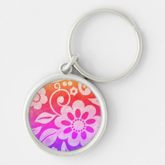 Floral Color Splash Keychain