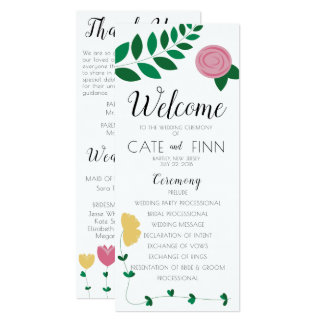 Floral Colorblock Wedding Ceremony Program