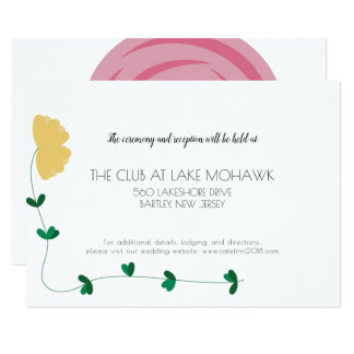Floral Colorblock Wedding Details Card