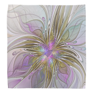 Floral Colorful Abstract Fractal With Pink & Gold Kerchiefs