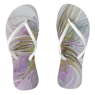 Floral Colorful Abstract Fractal With Pink & Gold Thongs