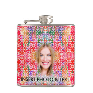 Floral Colorful Mosaic, Flask - Custom Photo Text