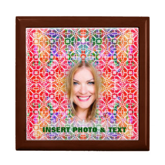 Floral Colorful Mosaic Gift Box - Custom Photo Tex
