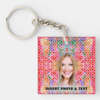 Floral Colorful Mosaic KayChain - Custom 2 Sides Key Ring