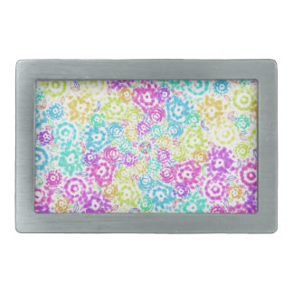 Floral colourful arrangement belt buckle