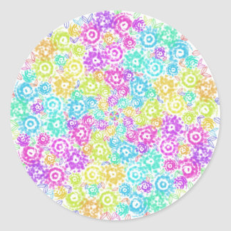Floral colourful arrangement classic round sticker