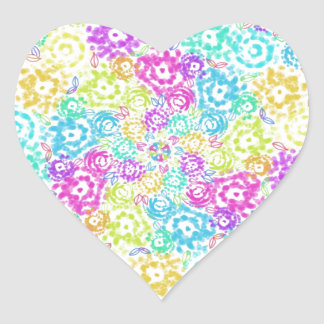 Floral colourful arrangement heart sticker