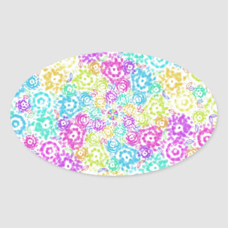 Floral colourful arrangement oval sticker