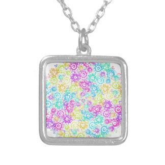 Floral colourful arrangement silver plated necklace