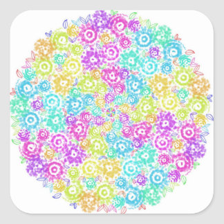 Floral colourful arrangement square sticker