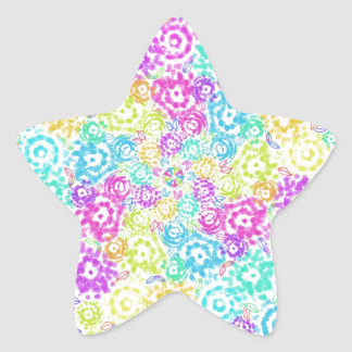 Floral colourful arrangement star sticker