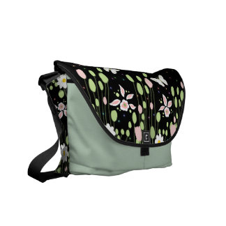 floral composition with butterflies messenger bags