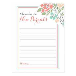 Floral Coral Teal Advice Postcard