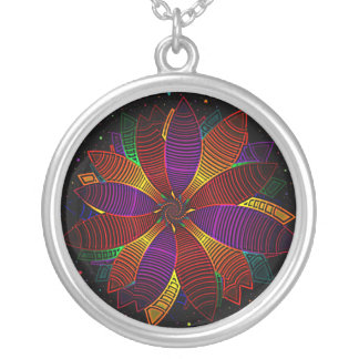 Floral cosmos silver plated necklace