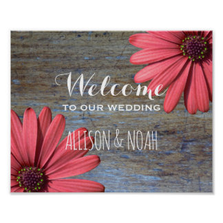 Floral Country Daisies | Rustic Wood Wedding Sign