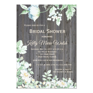 Floral Country Rustic Bridal Shower Invitation