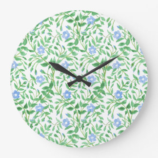 Floral Country-style Blue White Periwinkle Pattern Wallclock