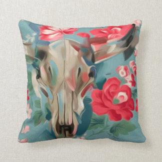 Floral Cow Skull pillow   southwestern art pillow