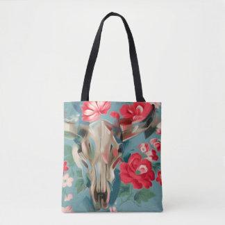 Floral Cow Skull tote bag   southwestern art bag