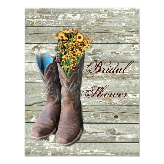 floral cowboy boots western country bridal shower card