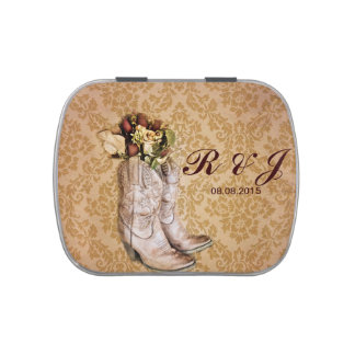floral cowboy boots western country wedding jelly belly tin
