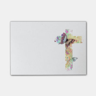 Floral cross and butterflies post-it notes