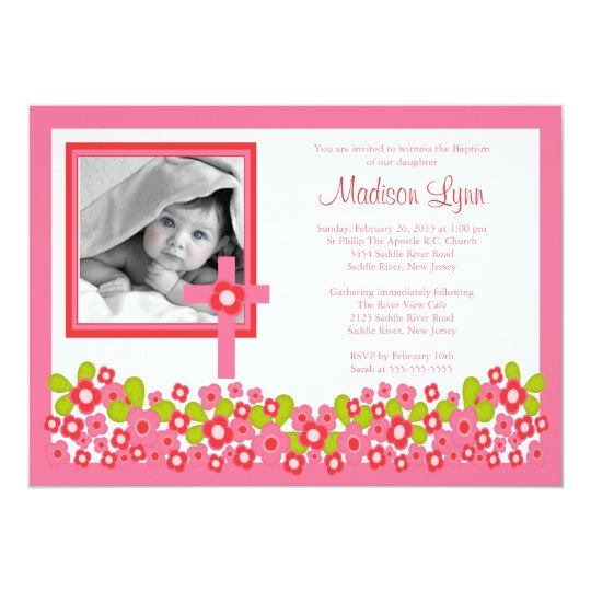 Floral Cross Baby Girl Photo Baptism Inviation Card