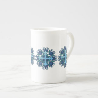 Floral Cross in Blues Tea Cup