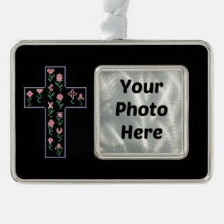 Floral Cross Silver Plated Framed Ornament