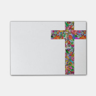 Floral cross post-it notes