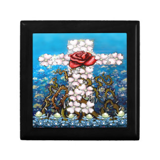 Floral Cross Rose Small Square Gift Box