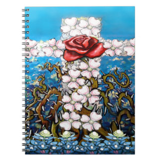 Floral Cross Rose Spiral Note Book