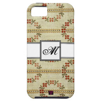 Floral Cross-stitch Embroidery Pattern w/ Monogram iPhone 5 Covers