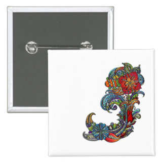 Floral Curls Abstract Modern Art 15 Cm Square Badge