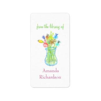 Floral custom bookplates / personalized bookplates address label