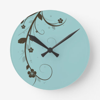 Floral Custom Clock Brown Blue Modern