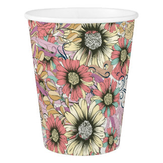 Floral Custom Paper Cup, 9 oz Paper Cup