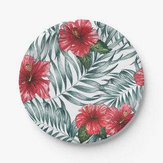 Floral Custom Paper Plates 7""