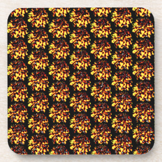 Floral Dahlia Flower Pattern Beverage Coasters