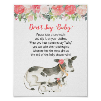 Floral Dairy Cow Baby Shower Don't Say Baby Game