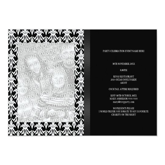 Floral Damask Black & White Photo All Events Card