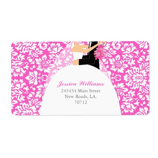 Floral Damask Bridal Shower Shipping Label