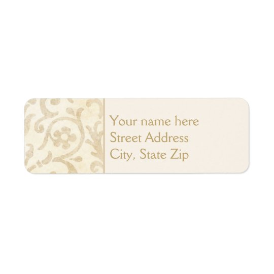 Floral Damask Creme and Beige Return Address Label