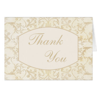 Floral Damask Creme and Beige Thank You Card