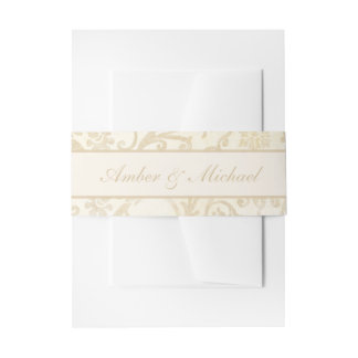 Floral Damask Creme and Beige Wedding Invitation Belly Band